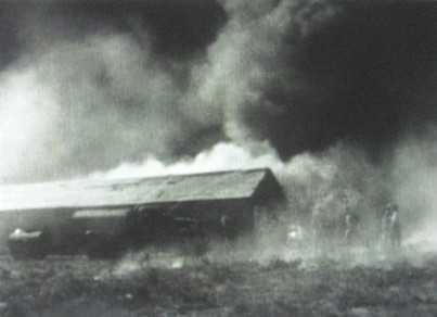 a fire raging on the outskirts of edo
