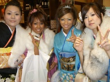 the girl in the baby blue kimono is hot!