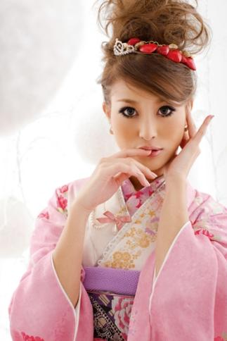 cute model in pink kimono