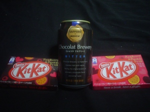japanese kit kat & japanese chocolate beer by sapporo