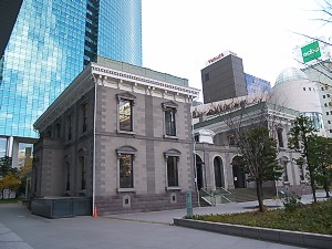 The modern reconstruction of Shinbashi Depot in present day Shiodome.
