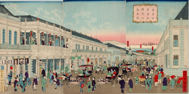 Ginza - were east met west in a typically Meiji way. I love this print. Just amazing!