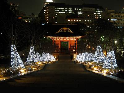 The Main Gate of Daitokuin at Christmas... What would Edo People think of this...?