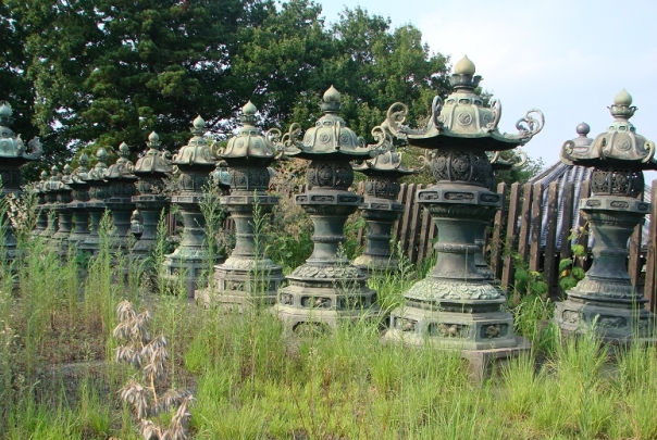 Copper (bronze?) lanterns at Fudo-ji in Saitama.  Many lanterns were salvaged from the firebombed mausolea at Zojo-ji and moved to Fudo-ji.  I'm not sure which mausoleum these particular lanterns are from, but they are most definitely from Zojo-ji.  And, you know, a lantern is a lantern, basically...