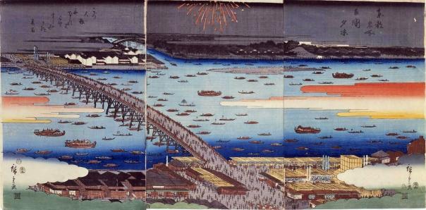 Fireworks from Ryogoku Bridge and the Sumida River.