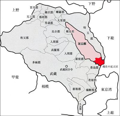 This is a map of Musashi Province.