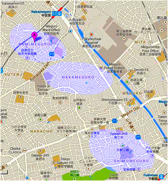 Hopefully you can see the path of the river and the placement of the upper, middle and lower Meguros. This type of place naming was typical of pre-modern Japan.