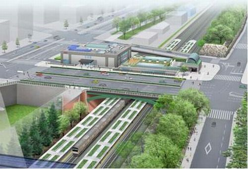 "Yotsuya Station in the future.... ""A train in every moat"" - Tokugawa Ieyasu"