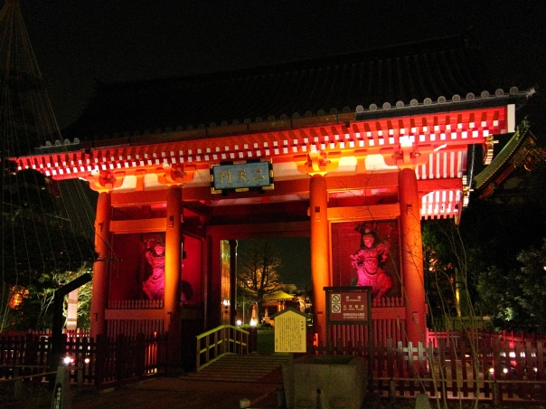 The Niten mon was recently restored to glorious condition and it's now illuminated at night. The two statues were brought in from Kan'ei-ji.