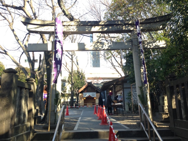 The torii that leads to the shrine dedicated to Ebisu.