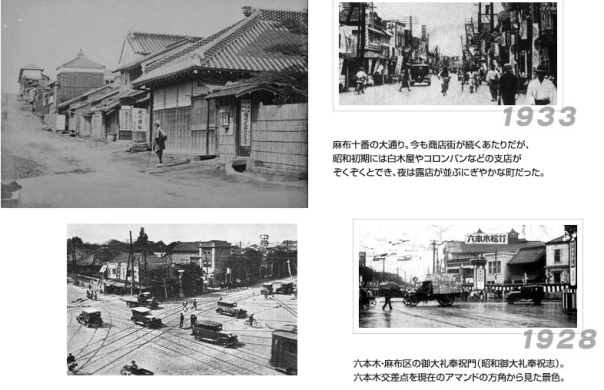 "the top 2 photos are of Edo Period Azabu Juban (the area that is now considered the ""shoten-gai."" The botom two pitctures are of Roppongi Crossing."