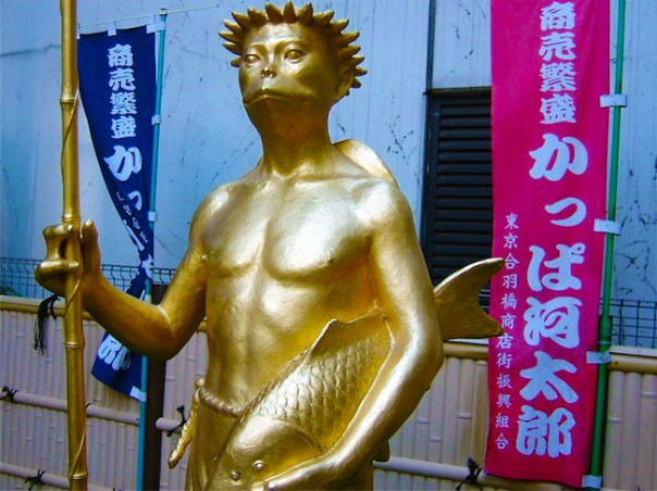 The famous kappa statue at Kappabashi.