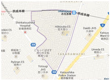 Map of Takaramachi