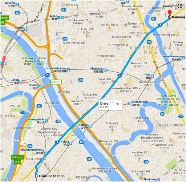 The path of the Mito Highway is still preserved today as National Route 6. It takes about 11 minutes to drive from the Sumida River to the Nakagawa River today.