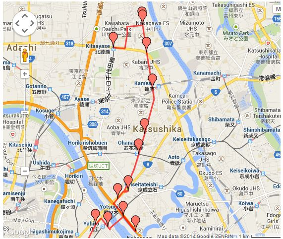 Here's a walking tour path that more or less follows the river's path (with a few detours here and there).
