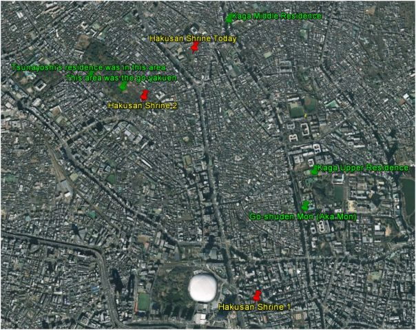 Here you can see the locations of Hakusan Shrine move closer Kaga's middle estate. The white dot at the bottom of the page is Tokyo Dome and you can see Koishikawa Korakuen to the immediate left of the Dome.