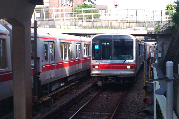 The Marunouchi Line at Myogadani Station.