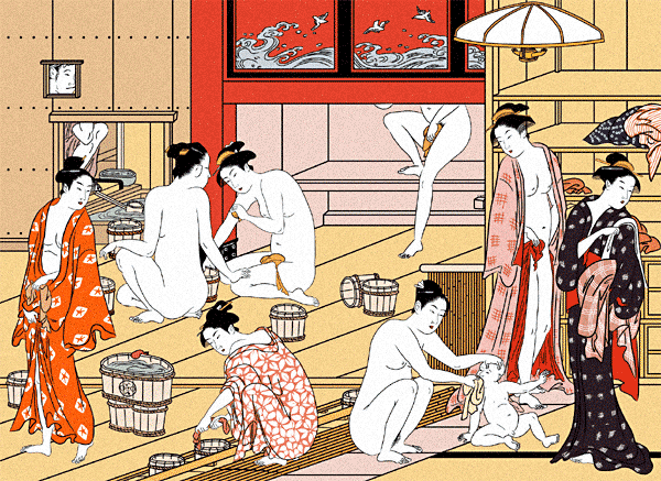 I have no picture of Gonbei so instead I give you a woman washing her drying her pussy in an alcove.