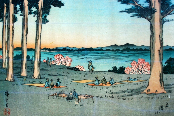 A scene as familiar as today Edoites on Dokanyama having a picnic while enjoying the sunset over Mt. Fuji.