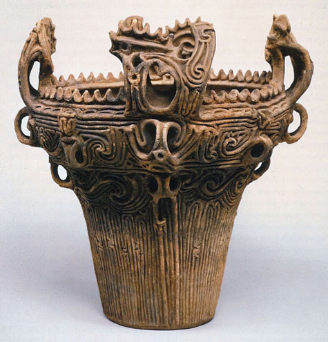 Jomon pottery. Notice the rope patterns.