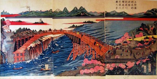 The Tone River as it flows throw Maebashi (present day Gunma Prefecture).
