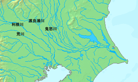 Map of rivers in the 16th century. The Tone River clearly flows down into Edo Bay.