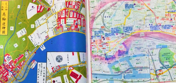 Sorry for the poor quality, I took the picture from a book. Left side is Edo Period. Right side is today.