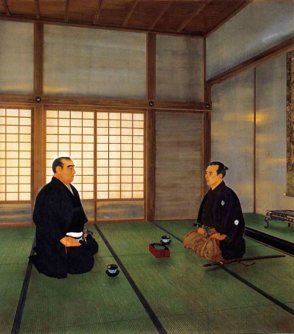 Saigo Takamori and Katsu Kaishu negotiating a reasonable surrender of Edo Castle in Mita (modern day Tamachi Station area)