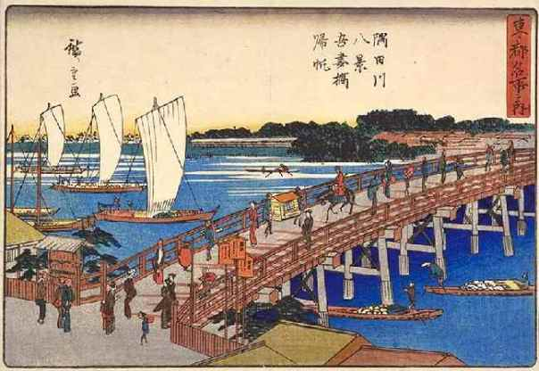 Remember. Ukiyo-e isn't about truth in advertising, it's about a feeling... much like Japanese advertising today. Those boats are about to crash into the bridge and lives will be lost if you read this painting literally.