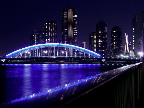 Eitaibashi at night.