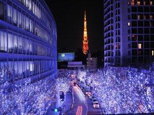 View from top of Keyakizaka towards Tokyo Bay with winter illuminations.