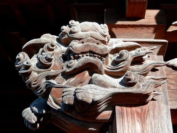 A dragon carved into wood at the shrine to Toshoku Taishi.