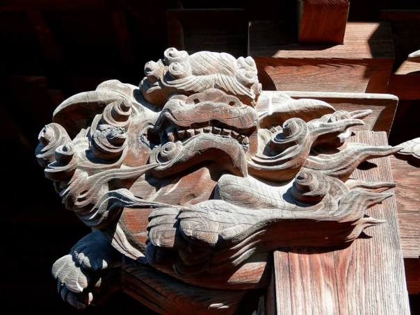 A dragon carved into wood at the shrine to Toshoku Taishi.