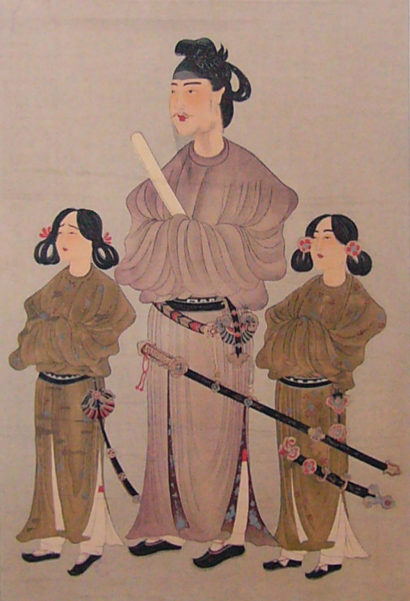 Shotoku Taishi. Notice the archaic hairstyle and clothing.