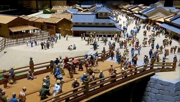 Miniature diorama of Nihonbashi at the Edo-Tokyo Museum.