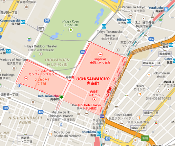 "The postal code ""Uchisaiwai-chō"" is highlighted in red. The green area is Hibiya Park."