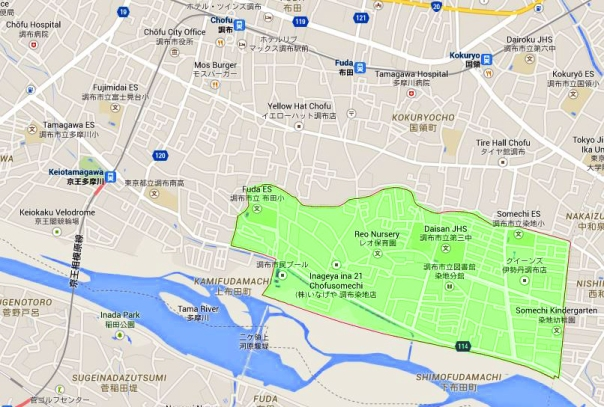 The green area is Somechi. Notice its proximity to the Tama River.
