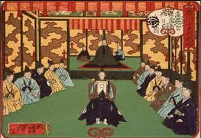 An image of an audience with 3rd shogun Iemitsu. The shogun is seated in the dais at the top center of the picture. He is flanked by 2 attendants. The term attendant (koshō, in Japanese) is actually a somewhat erotically charged term. But to the best of my knowledge Hidetada didn't have an established sexual relationship with Naomasa. He probably just acted as an assistant and secretary.