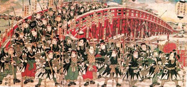 The 47 Rōnin crossing Ryōgoku Bridge to attack Kira.