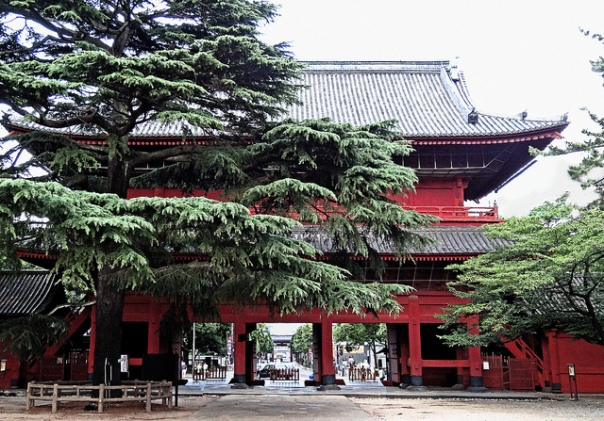 Built in 1622, the Sangedatsu Gate has been a symbol of this Zōjō-ji. This photo is taken from within the temple grounds and in the distance you can see the Daimon. (Photo by Rekishi no Tabi. Click the photo to check his amazing photos of Japan)