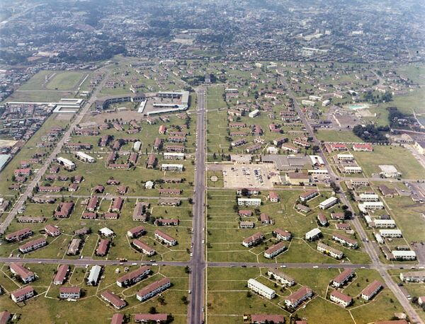 Aerial shot of Grant Heights, the US military base. In 1879 (Meiji 12), President Grant was the first US President to visit Japan. He was seen as a symbol friendship between the post-Tokugawa imperial government and the US. I see what you did their, US occupation forces...