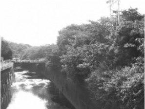 Remains of the natural moat of Nerima Castle (the Shakuji'i River) taken before the amusement park was constructed.