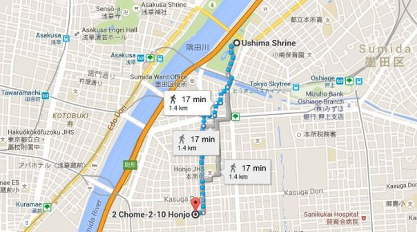 This is roughly the route from Ushima Shrine to Wakamiya Ushima Shrine.