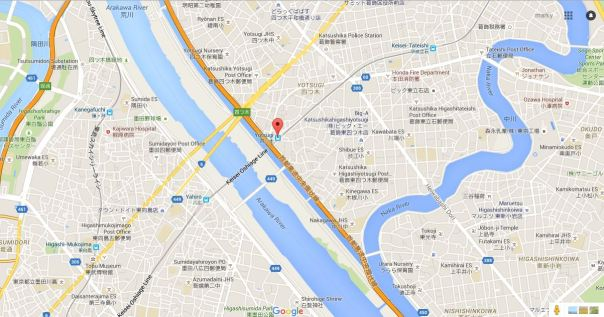 On the left, you can see the Sumida River. In the middle, the Arakawa and Ayase Rivers. On the right, the Nakagawa. Come back to this map later and you'll see more familiar faces.