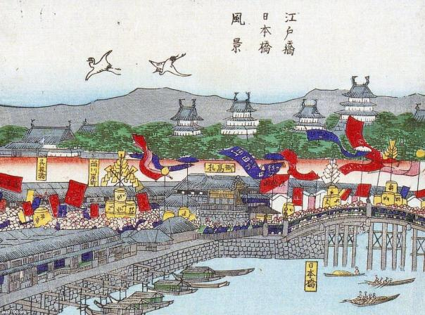 The Meiji Emperor entering Edo - view of Edobashi and Nihonbashi